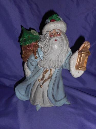 "VTG CERAMIC FATHER CHRISTMAS SANTA CLAUS 10 3/4"" HAND PAINTED FIGURE BABY BLUE &"
