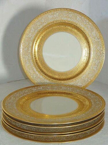 6 Exquisite Bavaria H&C Heinrich Gold Encrusted Large Dinner Cabinet Plates