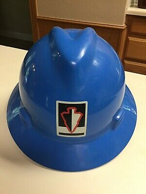 Msa Type 1 V-gard Full Brim Hard Plastic Hat Blue Ratchet Suspension
