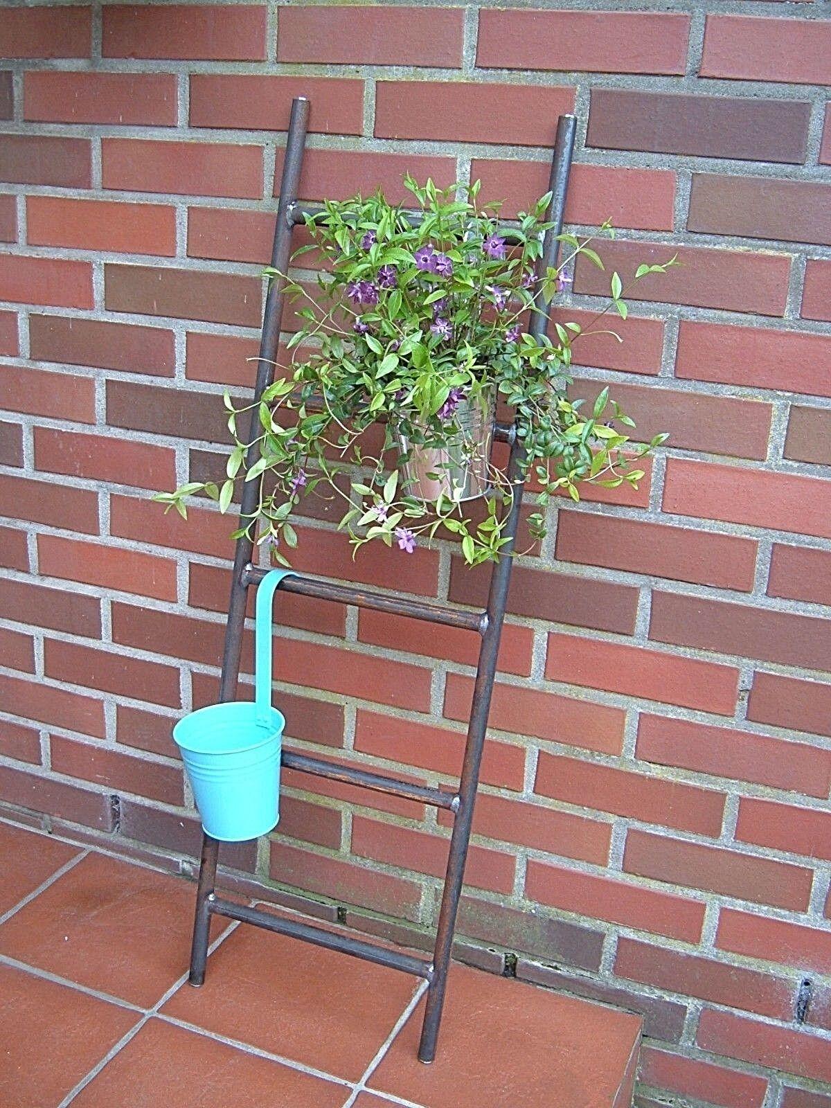 Leiter rostende Gartenleiter - Dekoleiter aus Metall - Edelrost für den Garten