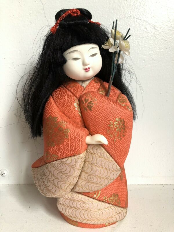 "Hina Doll Kimekomi Silk 9"" Orange Kimono Vtg Japanese Asian Flowers"