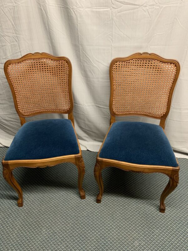 Vintage Pair French Country Solid Oak Cane Back Chairs