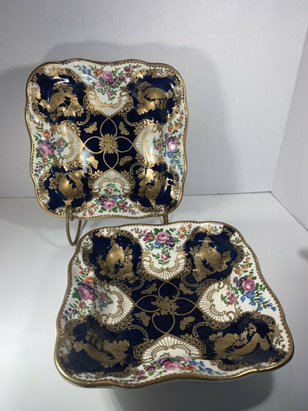 Antique Booths Gilman Collamore & Co Gold Gilt & Cobalt Blue 2 Serving Bowls