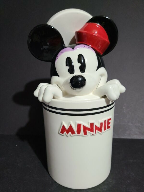 """Rare DISNEY MINNIE MOUSE Peek-A-Boo Canister Cookie Jar 11"""" Tall with Chips"""
