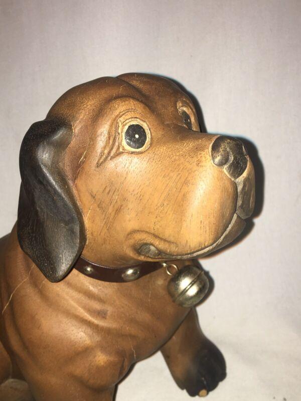 Vintage Folk Art Carved Dog Anatomically Correct Oak