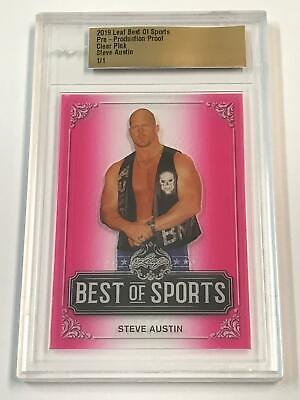 Leaf Pre Production Proof STEVE AUSTIN Wrestler 19 Best Of Sports Clear Pink