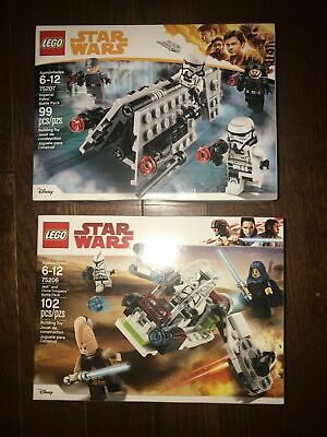 Lego Star Wars Lot of 2 Battle Packs!  75206 & 75207! Brand New Sealed! Retired!