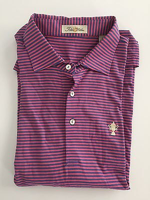Peter Millar Mens Golf Polo Shirt Cup Logo Pink Striped Size Large L