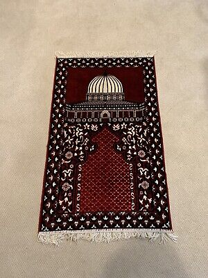 "Vintage Turkish Tapestry Rug About 25"" x 42"" Hisar Tekstil Red Color with Mosque"