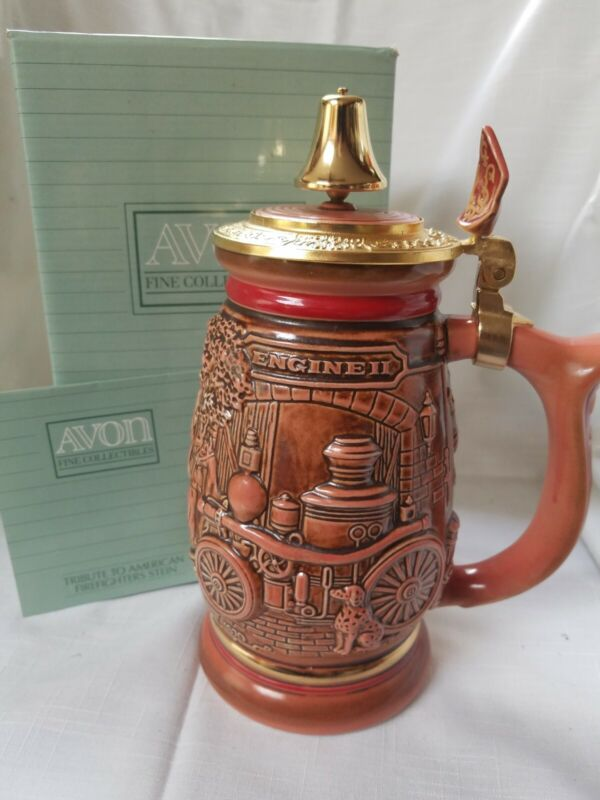 """Avon Handcrafted Beer Stein """"Tribute To American Firefighters"""" 1989"""