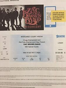 2 Zac Brown Band Tickets Elimbah Caboolture Area Preview