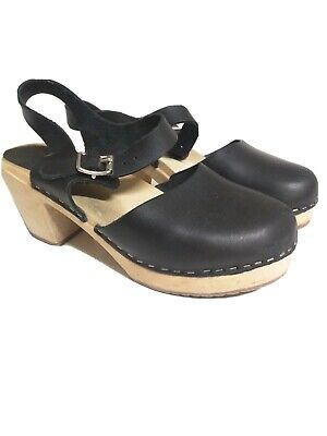 Lotta From Stockholm 39 (US Size Woman's 8.5) Black Shoes Highwood Clogs