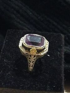 Quick Sale Antique 14ct solid gold filigree ring amethyst gem Perth Perth City Area Preview
