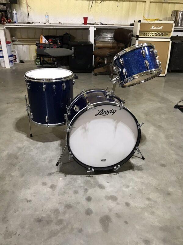 "1960's Leedy/Slingerland 20x14""Bass Drum Blue Sparkle,12x8""Tom,16x16"