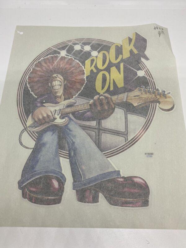 Vintage Heat Transfer Rock On Vinyl Transfer T-shirts