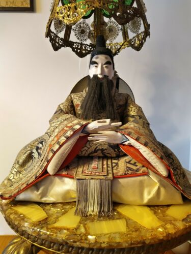"Antique Vintage 21x19"" Samurai Doll, Ningyo Doll, Japanese Doll"