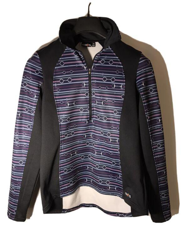 Kerrits Women's M -1/4 Zip Equestrian Pullover- Purple Black Horsebit Design-NEW