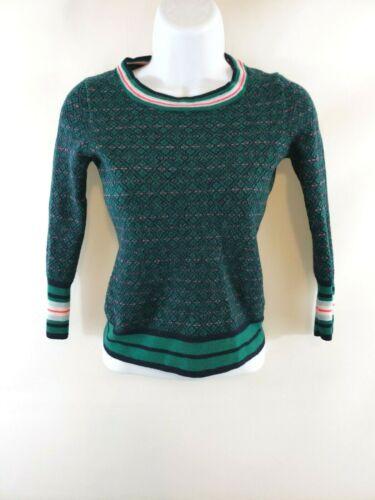 J Crew Girls Merino Wool Sweater Size S Green Striped Long Sleeve Crewneck EUC