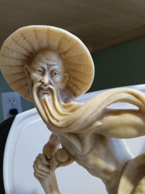 Vintage old Asian man Statue Hand Carved Detailed Japan Resin