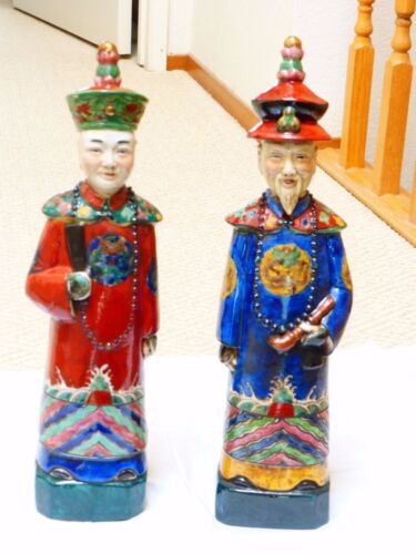 "Antique Chinese couple figurines, marked, 15"" tall"