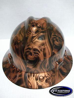 Copper Three Evil Pattern Full Brim New Custom Msa V-gard Hard Hat Wfastrac
