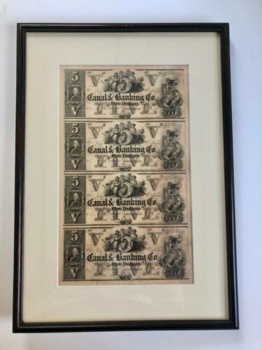 circa 1850s CANAL AND BANKING CO. NEW ORLEANS uncut $5 currency