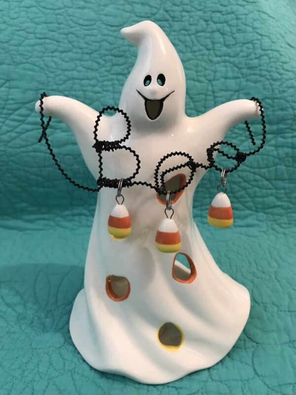 """Halloween Ceramic 8"""" Ghost W/Candy Corn Candy~ Wired""""BOO"""" Votive/Candle Holder"""