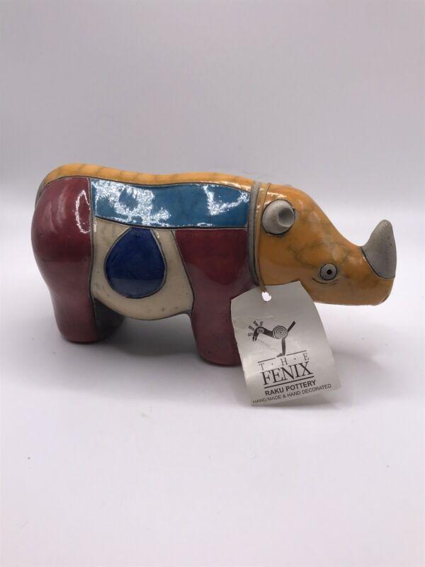 The Fenix Raku Pottery Rhinoceros Figurine Hand Made South Africa Signed/w-Tag