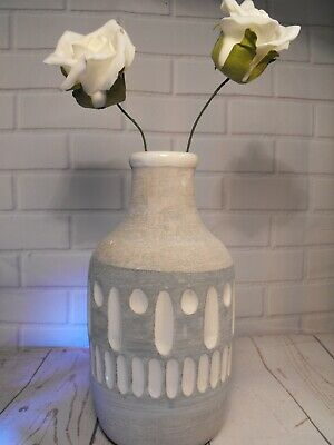 GREY AND WHITE FLOWER VASE CERAMIC POTTERY CONTEMPORARY SMALL VASE FOR FLOWERS