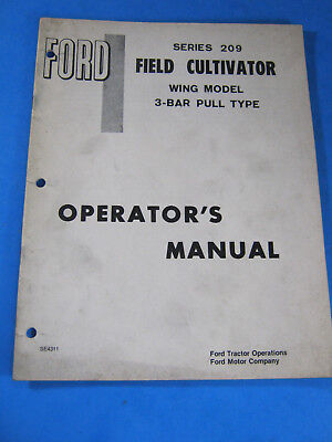 Ford 209 Field Cultivator Wing 3 Bar Pull Operators Manual Oem