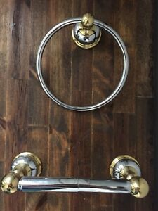 Gold Accented Towel Ring and Toilet Tissue Holder
