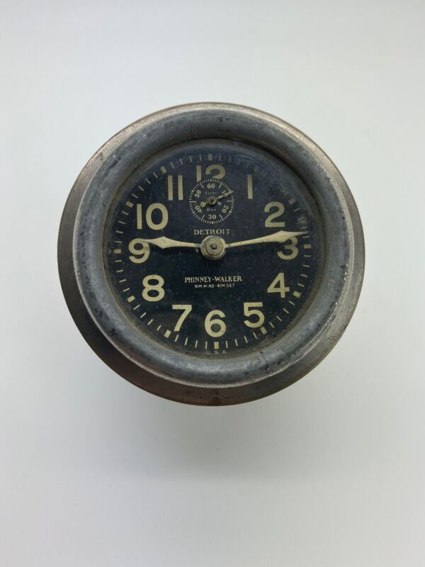 Antique Car Clock Made By Phinney Walker Detroit Model Rim Wind And Set Working