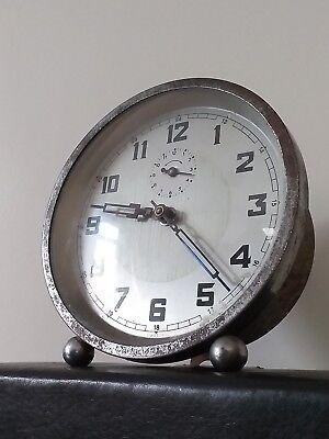 Vintage Rare Art-Deco Alarm Clock - Sub Seconds - Blue Steel Hands