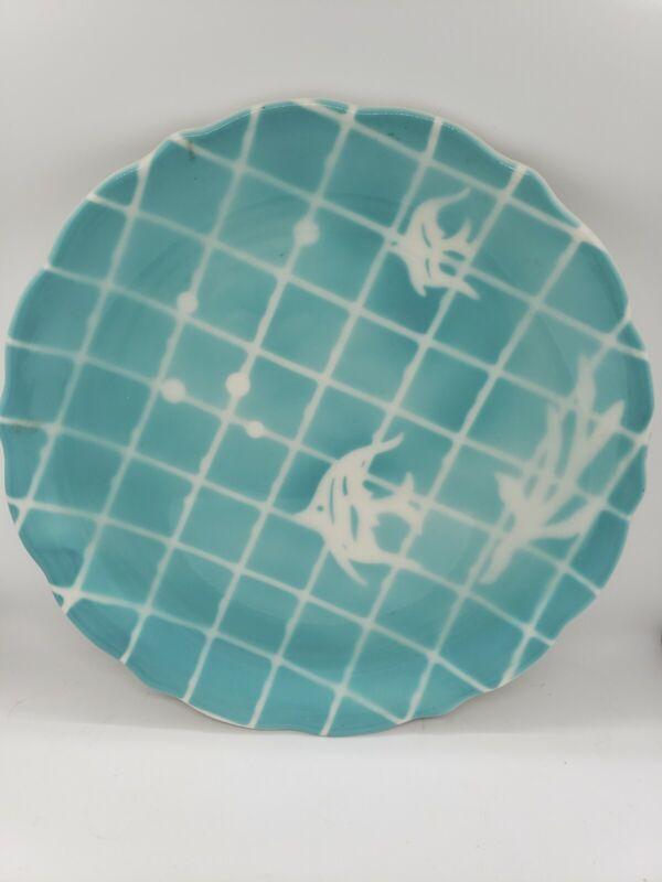 Aqua Seafoam Teal Vintage Syracuse China Angel Fish Plate airbrush Lunch Sz