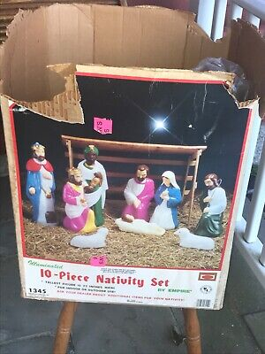 Vintage 10 Piece Blow Mold Nativity Set Empire Outdoor Lighted Plus Cow w/box