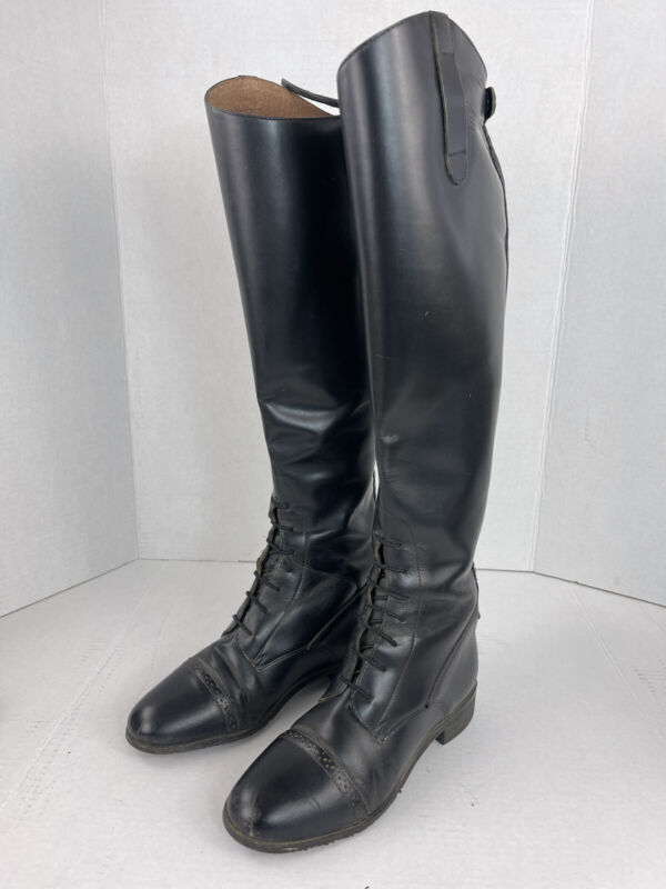 Ovation Finalist Riding Boots 8R Black Leather English Equestrian Lace Front