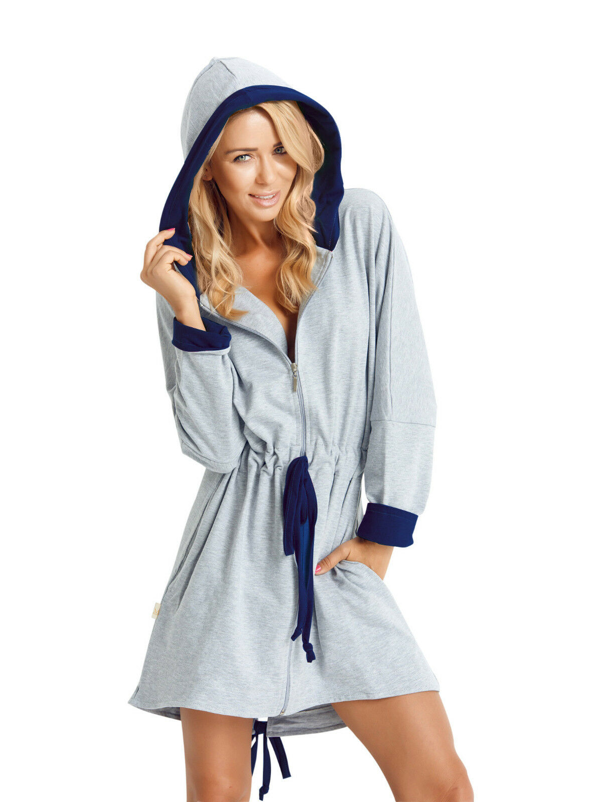 Womens Girls Short Length Hooded Dressing Gown Housecoat Zip Up Bathrobe UK  8-14 e394e1de9