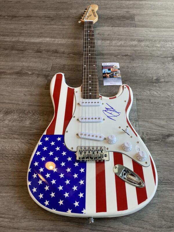 Amazing POST MALONE Autographed USA Flag Electric Guitar JSA COA