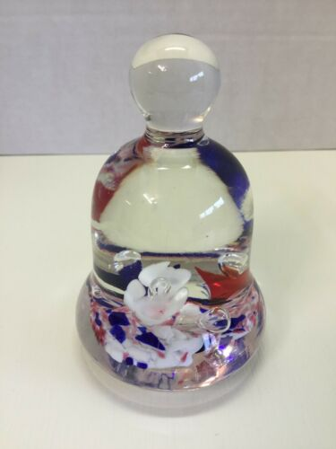 """1975- Maude & Bob St. Clair Red White Blue Bell Patriot Paperweight 4"""""""