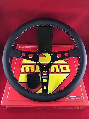 - MOMO Prototipo 350MM Black Leather w/ White Stitch Steering Wheel PRO35BK2B