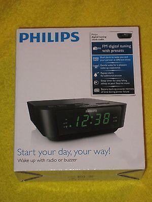 Philips Alarm Clock Radio FM Digital Tuning, LED, Dual Alarm - Black, New!