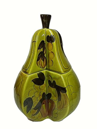 """Los Angeles Potteries Green Pear Shape Cookie Jar 14"""" Tall Vtg 1964 Hand-painted"""