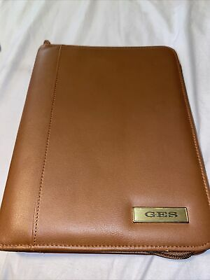 Vtg Day-timer Planner - Brown Leather 7 Ring Zip Binder W Hole Punch Extras