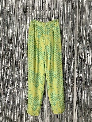 STEPHEN SPROUSE 80s Neon Silk Print Pants SIZE 4 US Yellow Blue Vintage Trousers