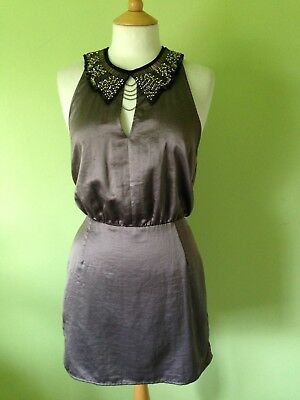 Pewter Grey Metallic Satin Silk Art Deco Beaded Sleeveless Party Dress S/M