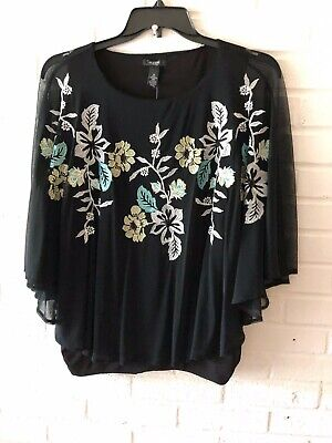 New Alfani Women's Top Black/Floral Embroidered Sequin Cape Sleeveless 1X  G34