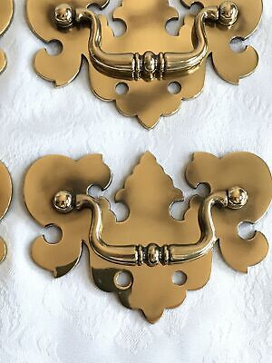 LARGE SOLID Light Antique BRASS DRAWER Chippendale Bail PULLS 3