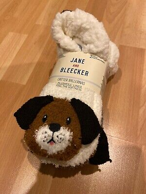 JANE & BLEECKER socks plushfill lined 2 Pairs 1x Bunny 1x Hound Dog size 2-8 UK