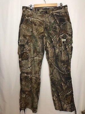 2ec8003a21fb6 Gander Mountain Mens Realtree AP Camo Hunting 6 Pocket Cargo Pants Adjust  Sz L