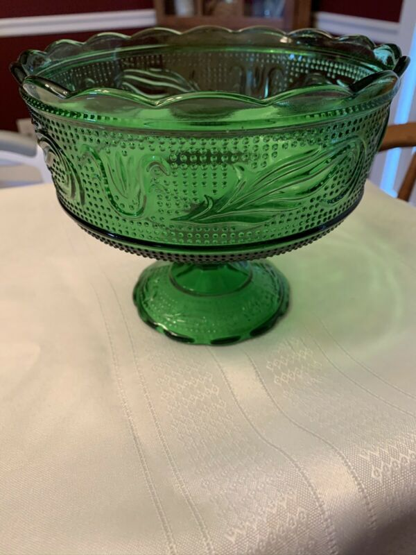 Vintage Green Glass Pedestal Compote Bowl  E O Brody Cleveland USA